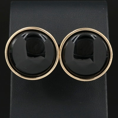 14K Gold Black Onyx Button Earrings