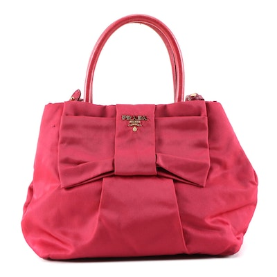 Prada Pink Tessuto Nylon Bow Handbag with Leather Trim and Shoulder Strap
