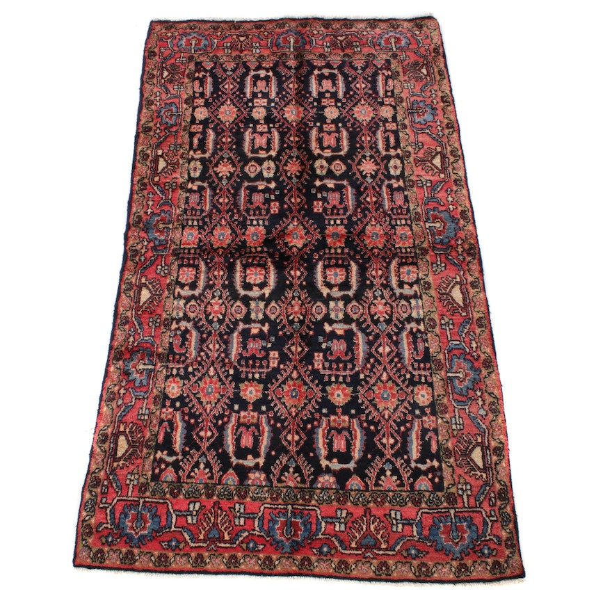 4'1 x 7'4 Hand-Knotted Persian Mahal Rug, 1970s