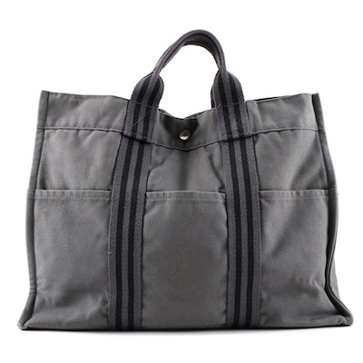 Hermès Paris Fourre Tout MM Tote in Black and Gray Canvas