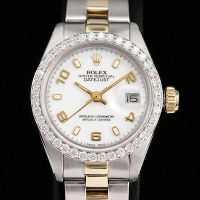 Rolex Datejust Stainless Steel and 14K Gold Wristwatch with Diamond Bezel, 1978