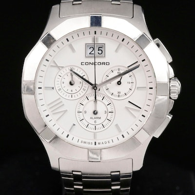 Concord Saratoga Stainless Steel Quartz Wristwatch with Alarm