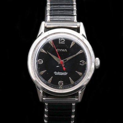 Cyma Automatic Watersport Stainless Steel Wristwatch, Circa 1950