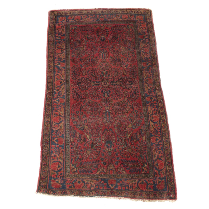 2'1 x 3'11 Hand-Knotted Persian Sarouk Rug, 1920s
