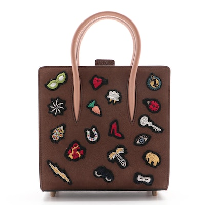 Christian Louboutin Brown Leather Charm Embellished Small Paloma Tote