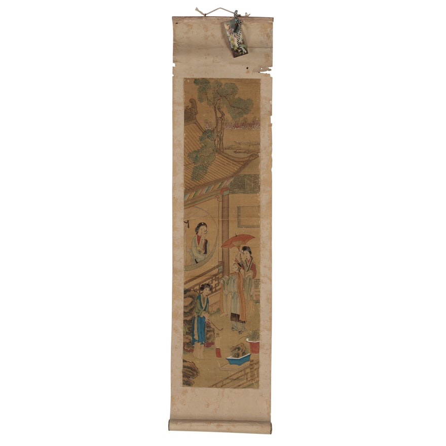 Chinese Gouache Genre Painting on Silk-mounted Hanging Scroll