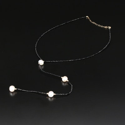 14K Yellow Gold Pearl and Black Onyx Beaded Necklace