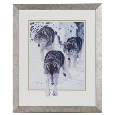 Kathy Walbaum Offset Lithograph of Wolves