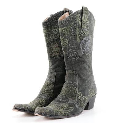 Velvet Road Embroidered Velvet Western Inspired Zip Boots