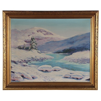 M. Jefferson Winter Landscape Oil Painting