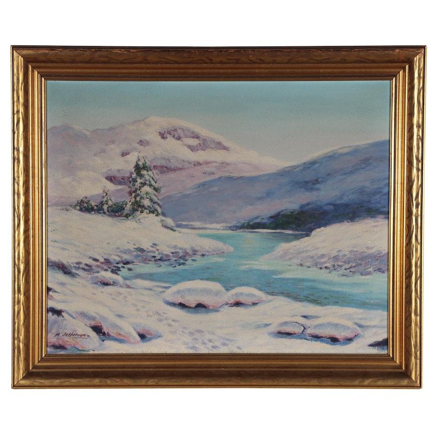 M. Jefferson Winter Landscape Oil Painting