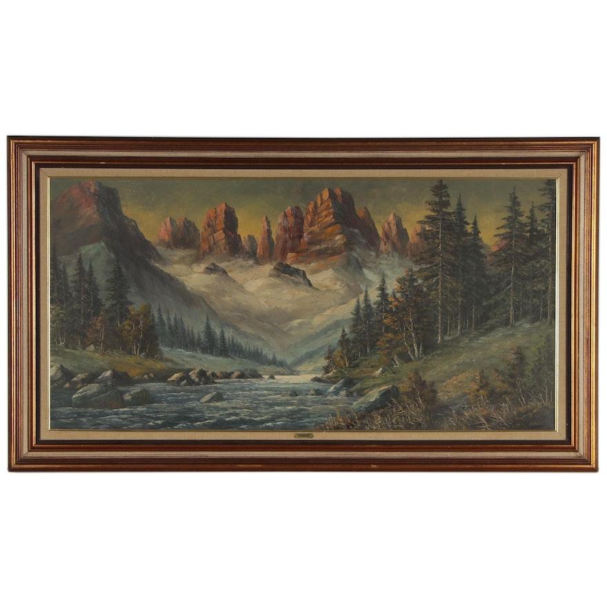 P. Olshof Oil Painting of Mountainside Landscape