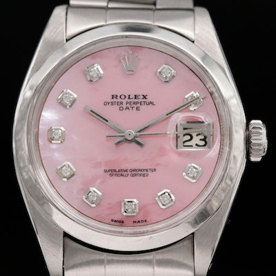 Rolex Datejust Stainless Steel and Diamond Dial Automatic Wristwatch, 1966