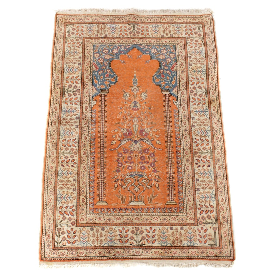2'10 x 4'7 Hand-Knotted Turkish Kayseri Silk Rink Rug, 1960s