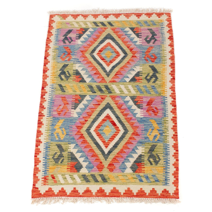 2'8 x 4'3 Handwoven Turkish Villiage Kilim Rug, 2010s