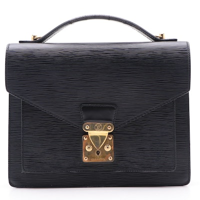 Louis Vuitton Monceau 28 Bag in Black Epi Leather and Smooth Leather
