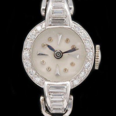 Borel 14K White Gold, Platinum and 1.36 CTW Diamond Stem Wind Wristwatch