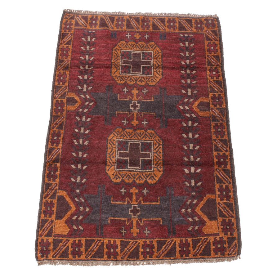 3'1 x 4'8 Hand-Knotted Afghani Turkoman Rug, 1990s