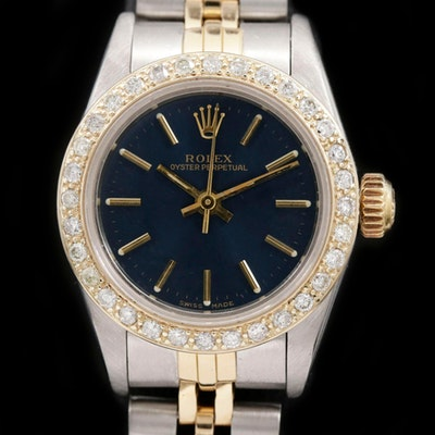 Rolex Oyster Perpetual Stainless Steel and 18K Gold Diamond Wristwatch, 1984