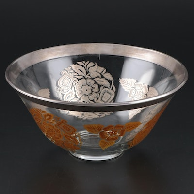 George Briard Sterling Rimmed Glass Bowl, Mid-20th Century