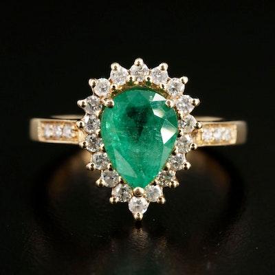 14K Yellow Gold Emerald and Diamond Teardrop Ring