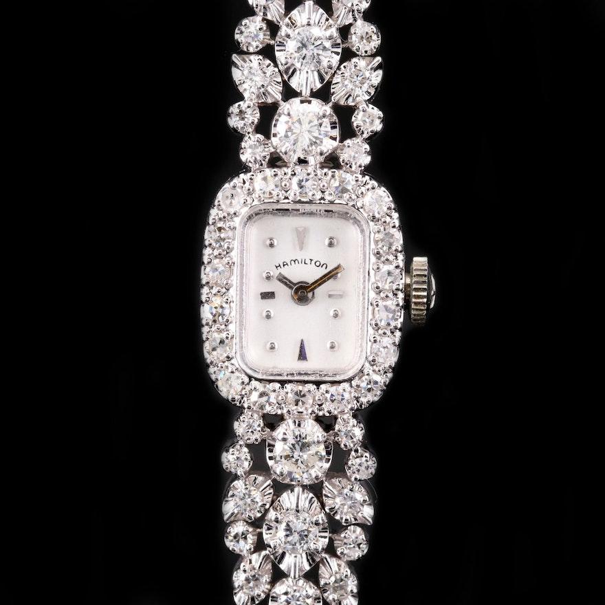 Hamilton 14K White Gold and 1.37 CTW Diamond Wristwatch