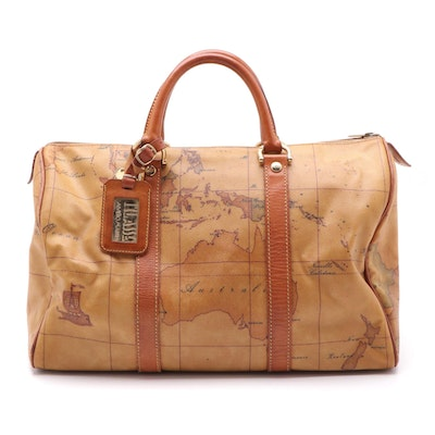 Alviero Martini 1A Classe Duffel Bag in Tan Geo Print Coated Canvas and Leather
