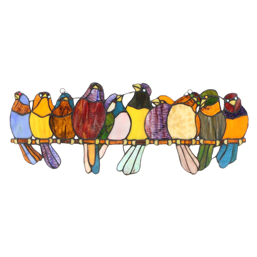 Birds on a Wire Stained Glass Panel