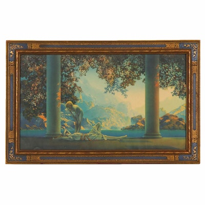 "Chromolithograph after Maxfield Parrish ""Daybreak"""