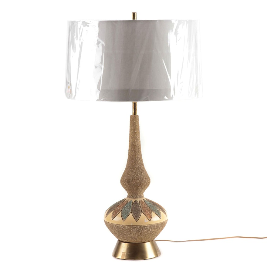 Mid Century Modern Ceramic Table Lamp with Linen Tanner Kenzie Shade