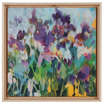 Abstract Oil Painting of Garden Flowers