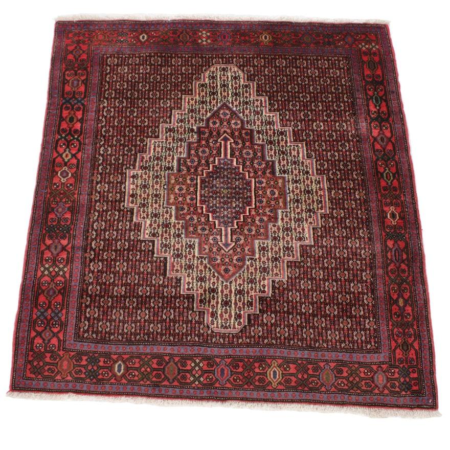 4'1 x 4'9 Hand-Knotted Persian Bijar Rug, 1970s
