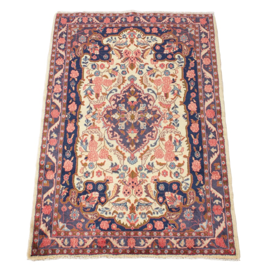 3'6 x 5'3 Hand-Knotted Persian Malayer Rug, 1970s