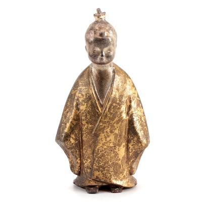 Japanese Style Gilt Finish Figurine in Kimono