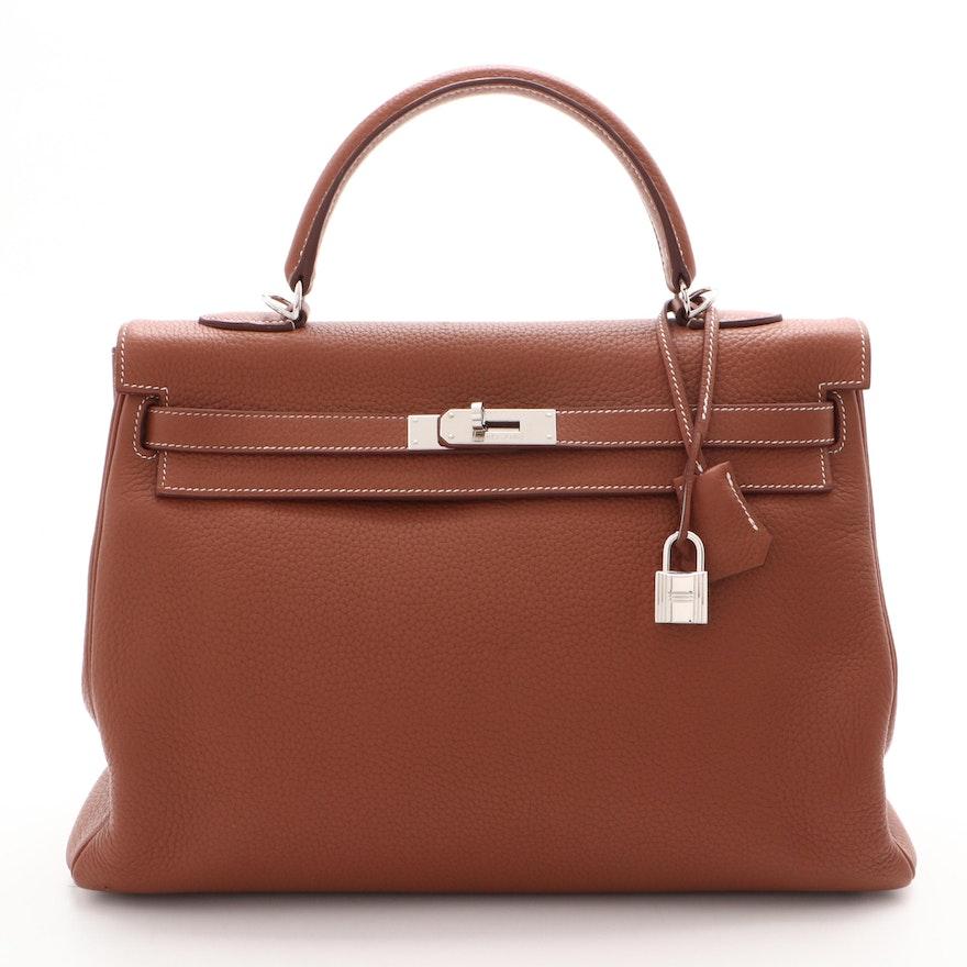 Hermès Kelly Amazone 35 Gold Clemence Leather Satchel