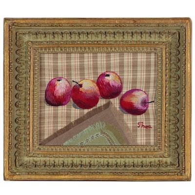 "Thea Mamukelashvili Embroidered Fiber Art ""Apples"", 2002"