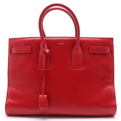 Saint Laurent Large Sac de Jour Tote Bag in Red Smooth Calfskin Leather
