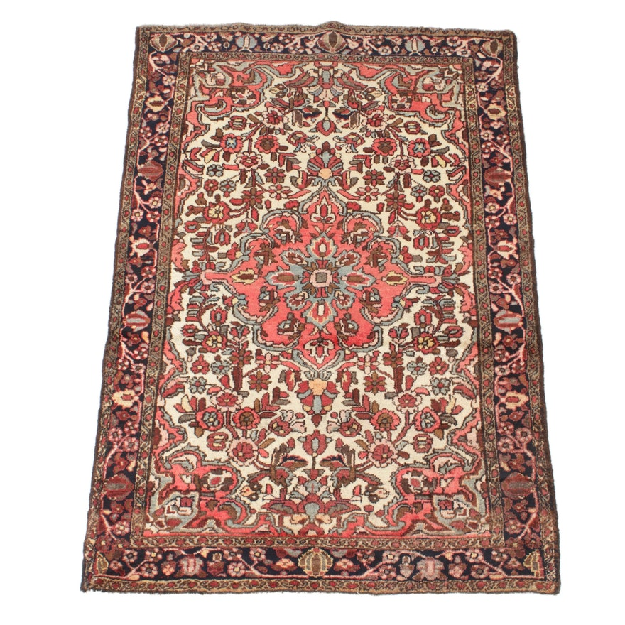 3'5 x 5'2 Hand-Knotted Persian Zanjan Rug, 1970s