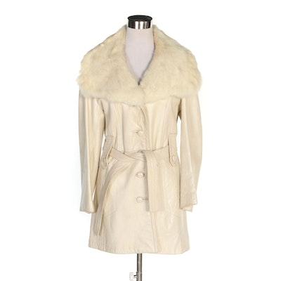 Dandi Modes R. Sherman Leather Coat with Rabbit Fur Shawl Collar, Vintage
