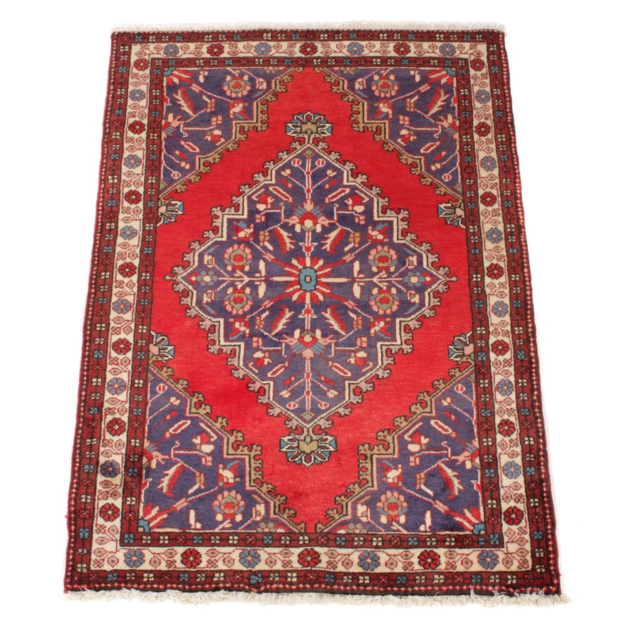 3'0 x 4'3 Hand-Knotted Persian Malayer Rug, 1970s