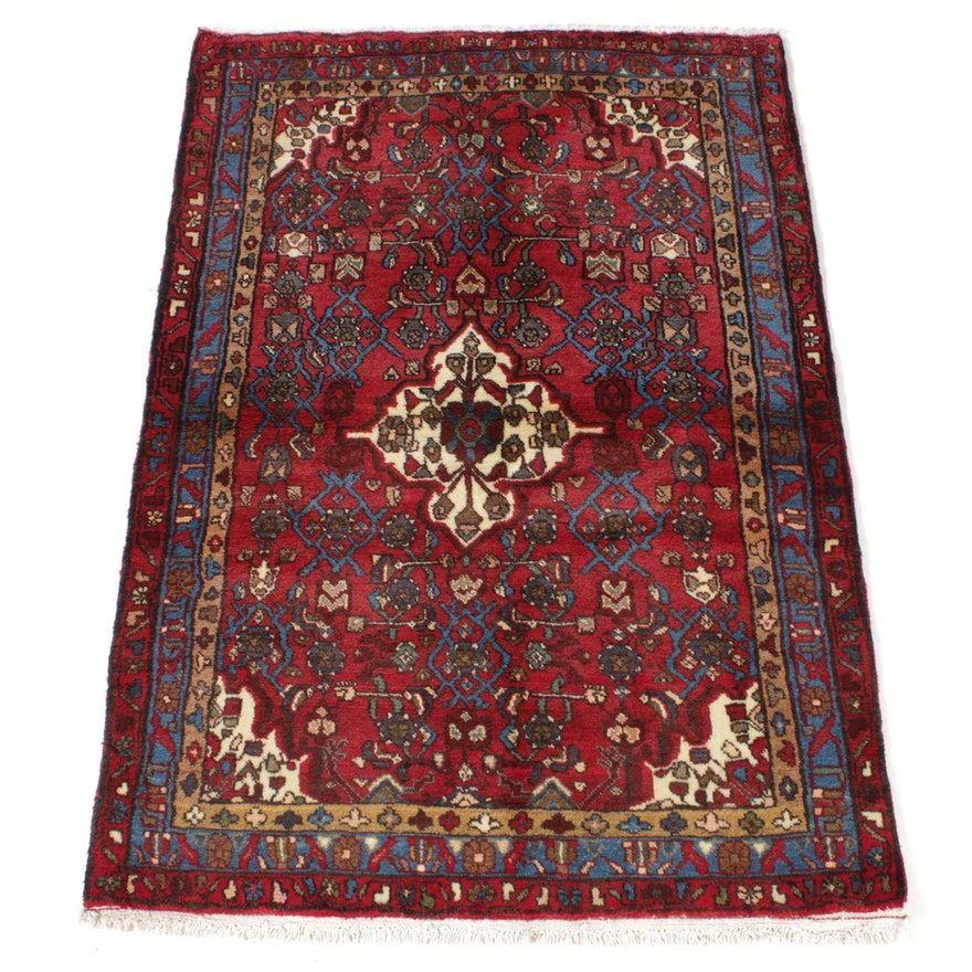 3'10 x 5'7 Hand-Knotted Persian Zanjan Rug, 1970s