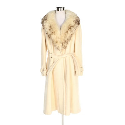 Stegari New York Wool Wrap Coat with Tie Belt and Fox Fur Shawl Collar, Vintage