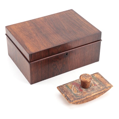 Rosewood Lock Box Plus Polychrome-Decorated and Embossed Leather Ink Blotter