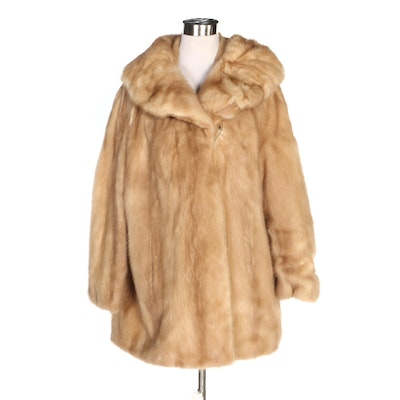 Mink Fur Coat with Shawl Collar, Vintage
