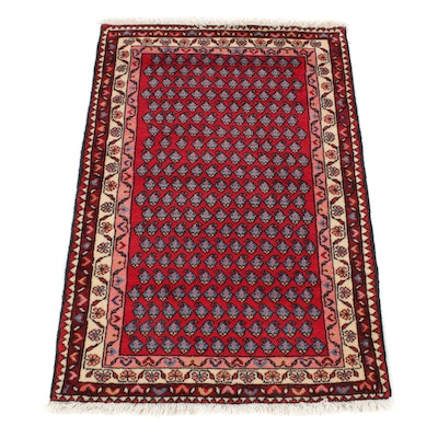 2'8 x 4'0 Hand-Knotted Persian Mir Saraband Rug, 1970s