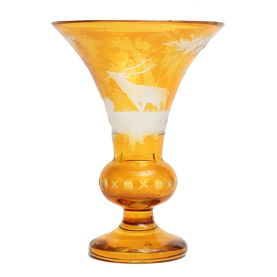 Bohemian Amber Cut to Clear Art Glass Trumpet Vase with Deer in Forest Scene