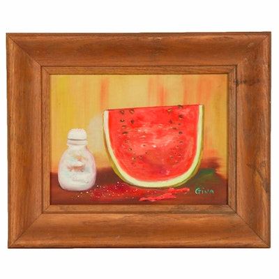 R. A. Hawley Still Life of Watermelon Oil Painting, Mid to Late 20th Century