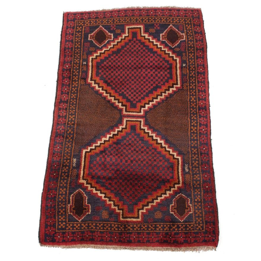 2'10 x 4'10 Hand-Knotted Afghani Turkoman Rug, 1990s