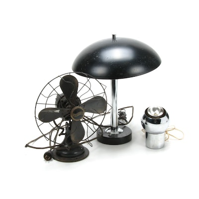 Mid Century Modern Table Lamp and Eyeball Lamp with Westinghouse Fan