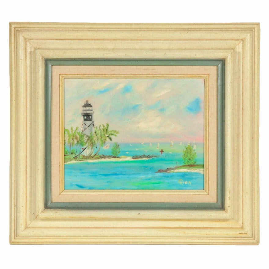 "R. A. Hawley Oil Painting ""Hillsboro Lighthouse, Florida"", Late 20th Century"